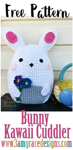 Our free amigurumi Bunny crochet pattern is just in time for Easter! How To Crochet A Bunny Amigurumi Cuddler Pillow, Complete With Rosy Cheeks & Smile! Our Free Bunny Crochet Pattern Is Perfect For Easter! Crochet Bunny Pattern, Easter Crochet Patterns, Crochet Patterns Amigurumi, Crochet Dolls, Crochet For Easter, Knitting Patterns, Kawaii Crochet, Crochet Gratis, Cute Crochet