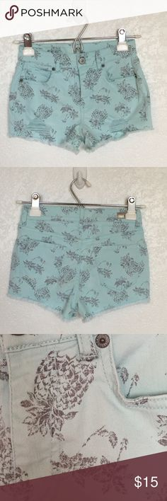 High Waisted Shorts High waisted, slightly distressed, frayed edged, teal color with pineapple designs Aeropostale Shorts Jean Shorts