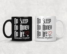 Nursing Student Coffee Mug *SUPER HIGH QUALITY 11oz or 15oz Black or White Nursing Student Mug ~ Safe for intensely hot or cold beverages. Thoughtful, Funny, Silly Nurse Gift Idea *PRINT ON BOTH SIDES ~ Print that lasts a lifetime to enjoy longer for a cup of coffee with your cute nurse student gift mug *MICROWAVE AND DISHWASHER SAFE ~ Long lasting No Sleep No Money No Life Nursing Student Mug totally safe when heated in microwave oven or through multiple wash cycles. *INDIVIDUALLY BO...