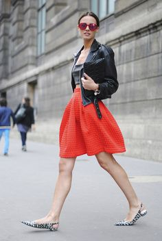 Black leather biker jacket & hot red short skirt I street style #fashion