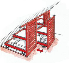 Roll-Container aus Tischlerplatten können versierte Heimwerker nach Plan in Ser… Carpenters' roll containers can be put into series production by savvy do-it-yourselfers and thus furnished individually. Eaves Storage, Loft Storage, Attic Renovation, Attic Remodel, Attic Rooms, Attic Spaces, Small Spaces, Attic Bathroom, Small Small