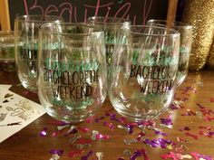 Got the vinyls from etsy. Applied them myself. Great Bachelorette gift for the bridesmaids.
