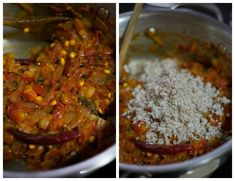 Kongu Thakkali Kuzhambu - Tamil style tomato kurma recipe for idli, dosa with coconut. Popular in Coimbatore. With step by step pictures. Coriander Leaves, Coriander Seeds, Curry Leaves, Fennel Seeds, Kurma Recipe, Coimbatore, Tamarind, Shredded Coconut, Chana Masala