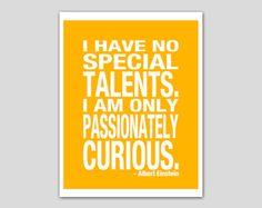 Inspirational Quote Art Print Custom Colors Albert Einstein Quote Poster Inspiration 8x10 Art Print