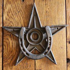 New+Rustic+Star+Horseshoe+Front+Door+Knocker+Heavy+Iron+Home+Western+Decorator++#IronWorks