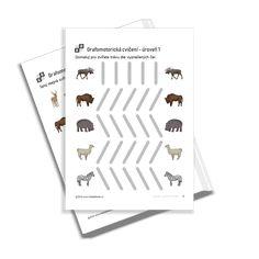 KiddyBlocks | Grafomotorická cvičení 1 - zvířátka v zoo Zoo, Free Printables, Preschool, Playing Cards, Free Printable, Kid Garden, Playing Card Games, Kindergarten, Game Cards
