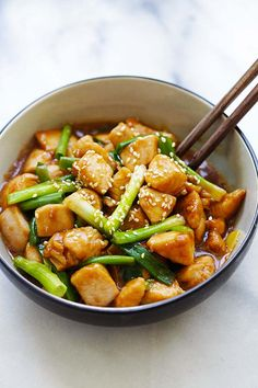 Mongolian Chicken - tender and juicy Chinese chicken stir-fry with scallions and brown sauce. This Mongolian Chicken recipe is so much better than takeout | rasamalaysia.com