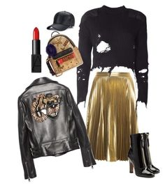 A fashion look from November 2016 featuring crewneck shirt, real leather jackets and gold metallic skirt. Browse and shop related looks. Mood Boards, Nars Cosmetics, Adidas Originals, Envy, Valentino, Fashion Inspiration, Metallic, Gucci, Polyvore