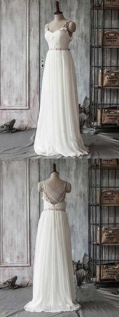 Ivory Wedding Dresses Simple, 2018 Bridal Dresses Chiffon, Tulle Wedding Dresses Sweetheart, Cheap Bridal Gowns Beading Straps