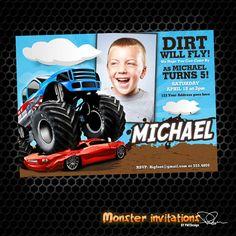 Monster Truck Printable Birthday Invitation by MonsterInvitations, $10.00