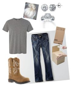 """""""Work- factory- packaging"""" by madisonbrown904 on Polyvore featuring American Eagle Outfitters, Ariat, Scotch, BERRICLE and Neil Lane"""