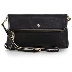 Tory Burch Emerson Fold-Over Crossbody Bag featuring polyvore, fashion, bags, handbags, shoulder bags, apparel & accessories, black cross body handbags, tory burch crossbody, foldover crossbody, fold over purse and black crossbody purse