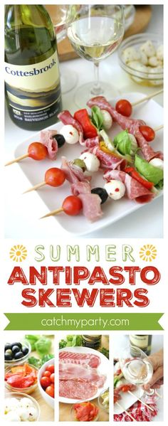 Antipasto Skewers and Summer Wines | Catchmyparty.com