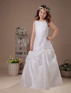 a095a7f2672 White Taffeta Sleeveless Satin Flower Girl Dress  Sleeveless