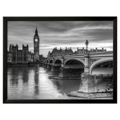 Art.com The House of Parliament and Westminster Bridge by Grant Rooney - Framed Art Print, Black