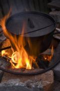 Dutch oven cooking on campfire flames--how to season it