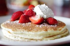 Ontbijt in het Dream cafe in Dallas met pancakes
