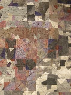 Hand-stitched detail of an abstract quilt.  (13th Tokyo International Great Quilt Festival 2014)