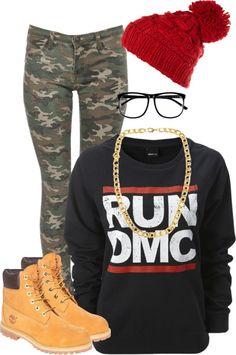 """""""Run DMC"""" by beautiisocial ❤ liked on Polyvore // so reminds me of my teenage years! #80s #90sforever"""