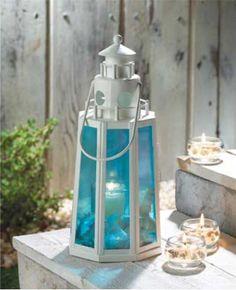 White Set Of 16 Ocean Blue Beach Lighthouse Lamp Candle Lantern Centerpieces Reception Decoration Lantern Lamp, Lantern Candle Holders, Candle Lamp, Candle Lanterns, Glass Candle, Candleholders, Unity Candle, Votive Holder, Seaside Decor