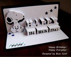 Snoopy Happy Brithday Kirigami Pop Up Card...www.facebook.com/BcozCard
