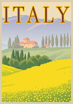 Vintage Retro Travel and Railways Reproduction Print Poster Nr 24. Italy Vintage travel poster