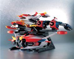 #Soul of #Chogokin ufo robot #Grendizer. #Goldorak et la patrouille des aigles. La soucoupe avec spaizer, Alcorak, Venusiak, Phossoirak et OVterre. Accessoires, Clavicogyre, fulguropoing, Planitronk, missile gama, missile Alpha, Victorang, Deltalame, Astérohache et bien d'autres accessoires du héros Goldorak. Le robot mesure 18 cm environ et la soucoupe 30cm de diamètre: http://www.kid-avenue.com/grendizer-xml-451_454-1291.html