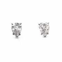 These shimmering high quality diamond stud earrings are finely crafted in solid platinum weighing approx: 1.7 grams and measuring approx: 8mm x 6mm. These sparkling diamond studs  feature a pair of genuine pear cut diamonds weighing cumulatively approx: 1.95cts, graded G-H  color and VS clarity respectively in a prong setting.  These alluring diamond stud earrings with posts  are designed exclusively for pierced ears and are in excellent condition.
