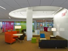 comfortable seating and work space, meeting rooms, large whiteboard, colors