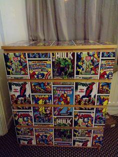 upcycled ikea drawer / Marvel / Super heros /Upcycling