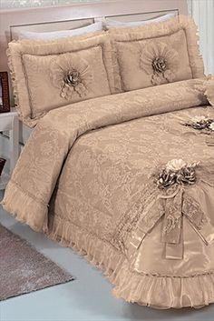 Evlen Home & Alanur Home Collection - Çift Kişilik Buhara Fransız Gipürlü Yatak Örtüsü Cappucino 2000000975290 %47 indirimle 339,99TL ile Trendyol da
