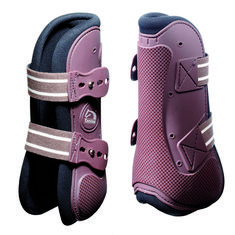 Protective semi-rigid moulded outer lined in neoprene, double elasticated hook and loop straps