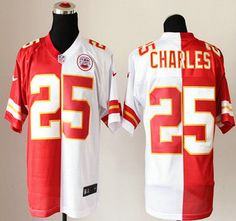 Nike Kansas City Chiefs Jersey #25 Jamaal Charles Red And White Split Elite Jerseys