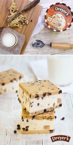 Dreyer's Cookie Dough Ice Cream Bars: In your favorite baking dish, evenly smooth out a thin layer of cookie dough, followed by an inch of Dreyer's Nestle Tollhouse Cookie Dough ice cream. Top it all off with a final layer of cookie dough and plop it in the freezer for at least 15 minutes. Slice, serve with milk, and prepare for smiles from your family!