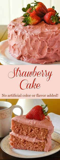 Strawberry Cake - no artificial colour or flavour added! | Food And Cake Recipes