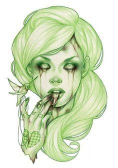 By Glenn Arthur Amazing! Zombie Kunst, Zombie Art, 1 Tattoo, Tattoo Motive, Sick Tattoo, Tattoo Flash, Manga Comics, Photomontage, Zombie Girl Tattoos