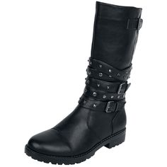 High Studded Strap Boot - Stiefel von Black Premium by EMP