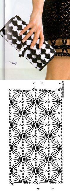 podkins: Here's another crochet chart pattern found over at Patrones Crochet. Crochet Clutch Bags, Bag Crochet, Crochet Shell Stitch, Crochet Diy, Crochet Handbags, Crochet Purses, Crochet Clothes, Vintage Crochet, Clutch Purse