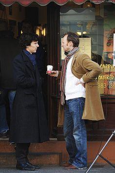 "Benedict Cumberbatch and Mark Gatiss (""Mycroft""), filming on the set of 'Sherlock', Warren Street, London, England, April 11th, 2010.  Photo: Ian Allis/Capital Pictures."