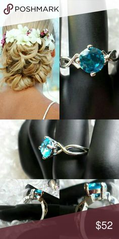 Beaute Naturelle 2.5 ct Genuine Blue Topaz Promise Ring .925 Sterling silver Topaz ring. Jewelry Rings