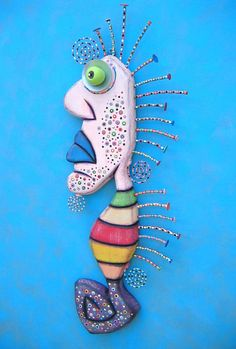 The Royal Seahorse Found Object Wall Sculpture by FigJamStudio