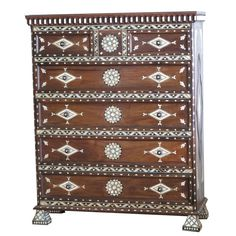 Show details for Style # 1057 - Syrian Moroccan Chest of Drawers inlaid with mother of pearl.