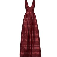 ML Monique Lhuillier Bordeaux Satin Stripe Gown (4,715 CNY) ❤ liked on Polyvore featuring dresses, gowns, striped dress, red evening dresses, red satin gown, bordeaux dress and red evening gowns