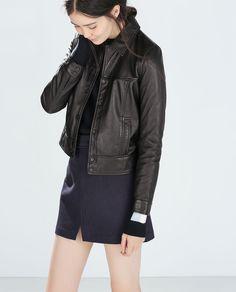 LEATHER JACKET-Trf-Outerwear-WOMAN   ZARA United States
