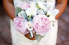 Bouquet of peonies, lambs ear and white roses | Pinkerton Photography | Arizona Bride Magazine