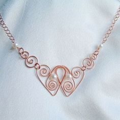 Heart Necklace Wire Wrap Pearl Pendant eco friendly by ArtistiKat, $45.95 by Jersica