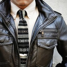 men's fashion - men's style - leather jacket and tie