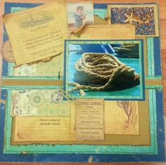 Sea Cruise Scrapbooking Layout - blues and kraft  - natural nautical - Maritime Collection.