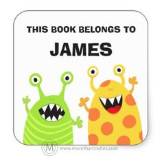 "Cute and fun, custom bookplate stickers for children featuring two funny cartoon monsters, one green with stripes and one yellow with orange dots. Customizable text ""This book belongs to"" and name. Bright and fun design for kids. Great for labeling school books."