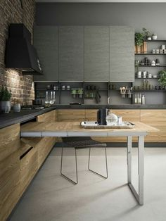 17 Brilliant Small Kitchen And Dining Room Design Ideas 006 Home Decor Kitchen, Kitchen Furniture, New Kitchen, Home Kitchens, Kitchen Ideas, Hickory Kitchen, Cheap Kitchen, Green Kitchen, Country Kitchen